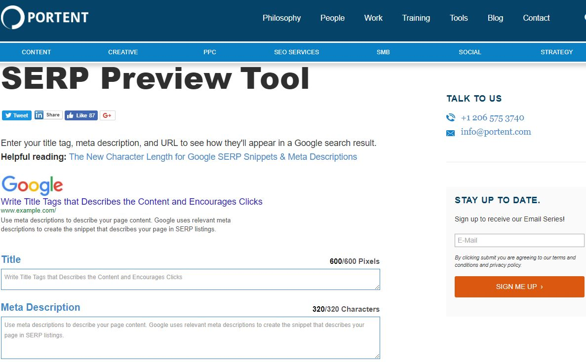 Portents Serp Preview Tool