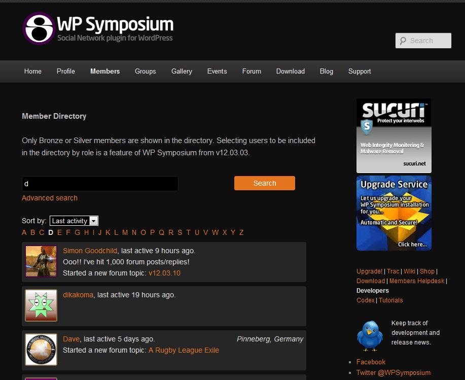 Plugin wordpress WP Symposium Pro